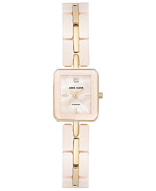 Anne Klein Women's Diamond Accnet Pink Ceramic and Gold-Tone Bracelet Watch 19x23mm