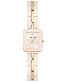 Anne Klein Women's Diamond Accent Pink Ceramic and Gold-Tone Bracelet Watch 19x23mm