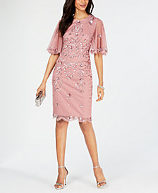Adrianna Papell Beaded Wide-Sleeve Sheath Dress