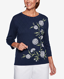 Alfred Dunner Greenwich Hills Diamond-Knit Embroidered Sweater
