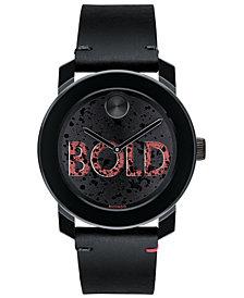 Movado Men's Swiss BOLD Black Leather Strap Watch 40mm