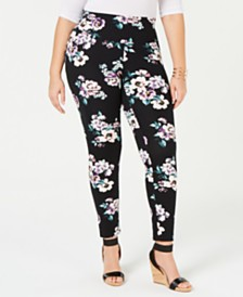 I.N.C. Shaping Plus-Size Printed Leggings, Created for Macy's