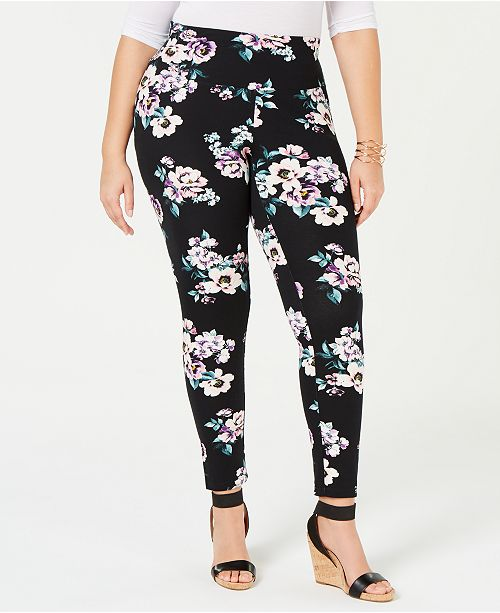 INC International Concepts I.N.C. Shaping Plus-Size Printed Leggings, Created for Macy's