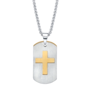 Double Tag Cross Pendant Necklace in Stainless Steel