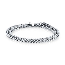 4mm Double Wrap Franco Chain Stainless Steel Bracelet, 17""