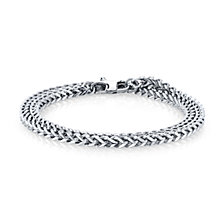 He Rocks 4mm Double Wrap Franco Chain Stainless Steel Bracelet, 17""