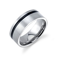 He Rocks Stainless Steel Ring Featuring Black Line Design