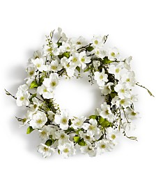 Martha Stewart Collection Spring Dogwood Artificial Wreath, Created for Macy's