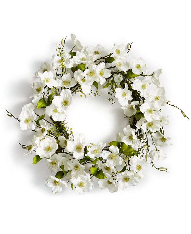 Martha Stewart Collection CLOSEOUT! Spring Dogwood Artificial Wreath, Created for Macy's