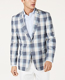Men's Modern-Fit Blue/Cream Plaid Sport Coat