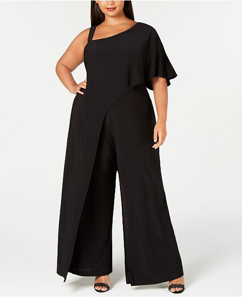 8169fe36b62 R   M Richards Plus Size One-Shoulder Jumpsuit   Reviews - Pants ...