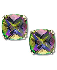 14k Gold Earrings, Cushion Cut Mystic Topaz Stud Earrings (9-1/2 ct. t.w.)