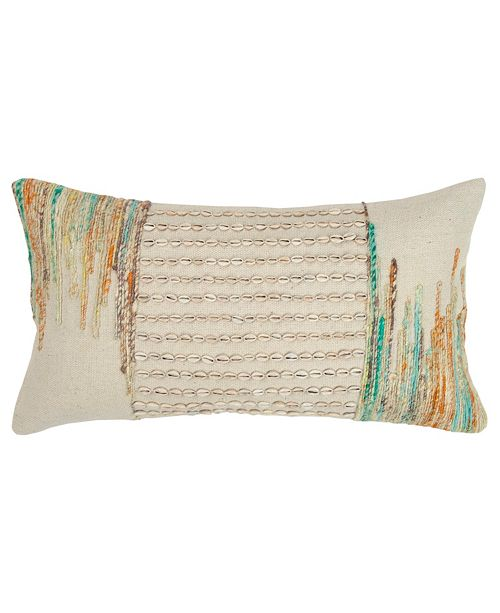 """Rizzy Home 14"""" x 26"""" Abstract Design Pillow Down Filled"""