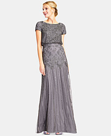 Adrianna Papell Beaded Short-Sleeve Gown