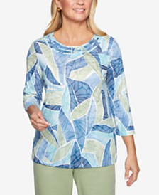 Alfred Dunner Petite Greenwich Hills Printed 3/4-Sleeve Top