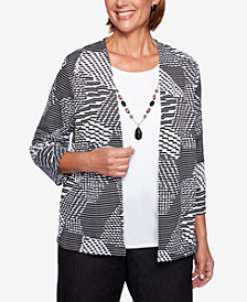 Alfred Dunner Petite Grand Boulevard Textured Layered Look Top