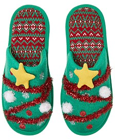 Festive Closed-Toe Scuff Slippers, Online Only
