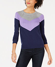Maison Jules Chevron Colorblocked Sweater, Created for Macy's