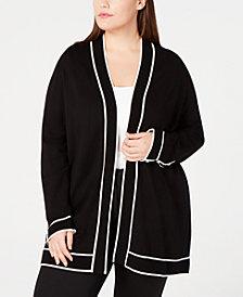 Calvin Klein Plus Size Contrast-Trim Cardigan