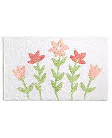 "Martha Stewart Collection Silh Floral 21"" x 34"" Bath Rug, Created for Macy's"