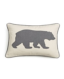 Bear Applique Grey Felt Breakfast Pillow