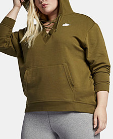 Nike Plus Size Sportswear Lace-Up Hoodie