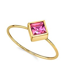 14K Gold Dipped Diamond Shaped Crystal Ring