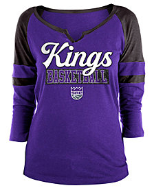 5th & Ocean Women's Sacramento Kings Slub Foil Raglan T-Shirt