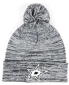 Authentic NHL Headwear Dallas Stars Black White Cuffed Pom Knit Hat