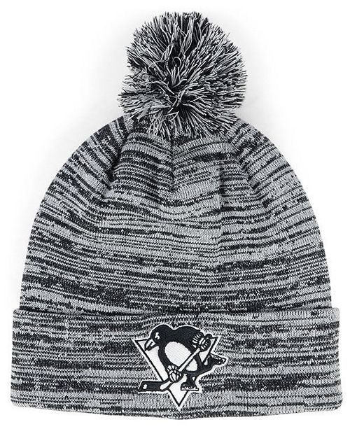 best loved bd9ac 13487 ... Authentic NHL Headwear Pittsburgh Penguins Black White Cuffed Pom Knit  Hat ...