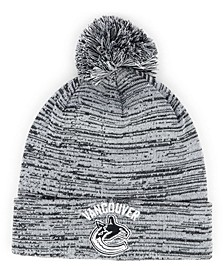 Vancouver Canucks Black White Cuffed Pom Knit Hat