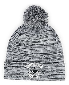 Authentic NHL Headwear Vancouver Canucks Black White Cuffed Pom Knit Hat