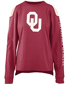 Pressbox Women's Oklahoma Sooners Cold Shoulder Long Sleeve T-Shirt