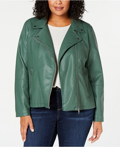 Style & Co Plus Size Faux-Leather Moto Jacket, Created for Macy's