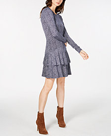 MICHAEL Michael Kors Printed Tiered-Hem Dress, In Regular & Petite Sizes