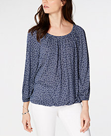 MICHAEL Michael Kors Paisley Scoop-Neck Blouson Top, In Regular & Petite Sizes