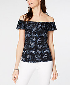 MICHAEL Michael Kors Flounce Off-The-Shoulder Top, In Regular & Petite Sizes
