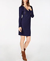 MICHAEL Michael Kors Ribbed Lace-Up Sweater Dress, In Regular   Petite Sizes fd9399bac4f