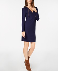 8066b73ad4 Michael Kors Lace-Up Ribbed-Knit Sweater Dress   Reviews - Dresses ...