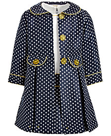 Blueberi Boulevard Toddler Girls Polka Dot Coat Dress