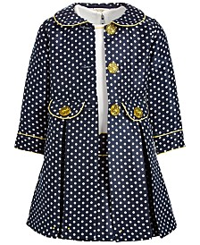 Blueberi Boulevard Little Girls Polka Dot Coat Dress