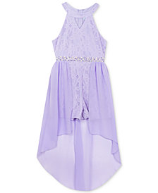 Rare Editions Big Girls Embellished Chiffon High-Low Dress