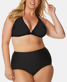 Raisins Curve Trendy Plus Size Juniors' Bikini Top & Tummy-Control Bottoms