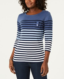 Karen Scott Striped 3/4-Sleeve Top, Created for Macy's