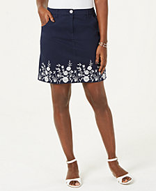 Karen Scott Embroidered Skort, Created for Macy's