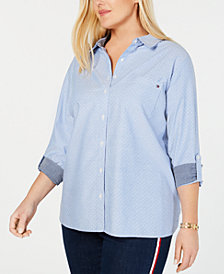 Tommy Hilfiger Plus Size Oxford Dot Roll Tab Top