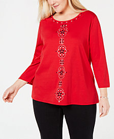 Alfred Dunner Plus Size Grand Boulevard Embellished Top
