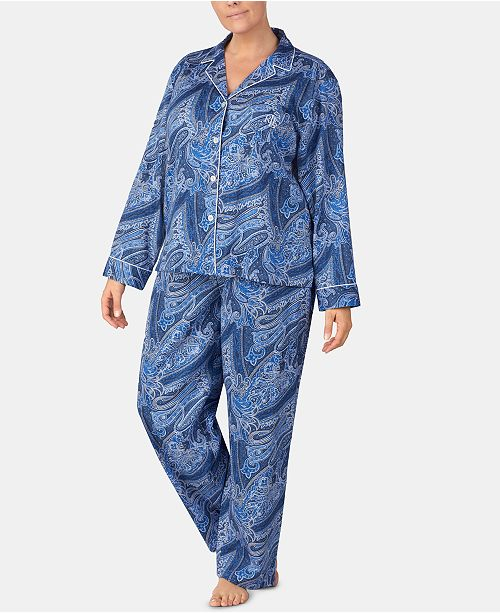 bb1f68f7575f Lauren Ralph Lauren Plus Size Printed Notch Collar Pajama Set - Bras ...
