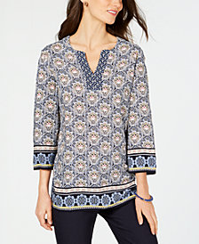 Charter Club Printed Tunic, Created for Macy's