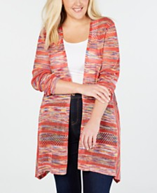 John Paul Richard Plus Size Space-Dyed Cardigan